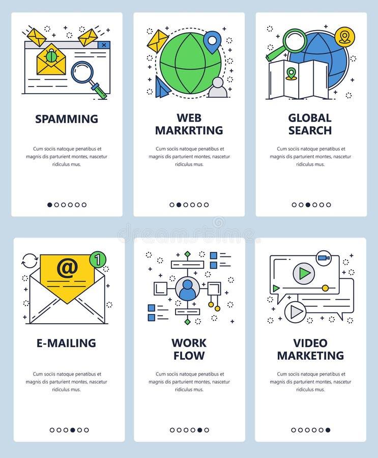 传染媒介网站线性艺术onboarding的屏幕模板 网上数字营销、网和录影广告 电子邮件 向量例证