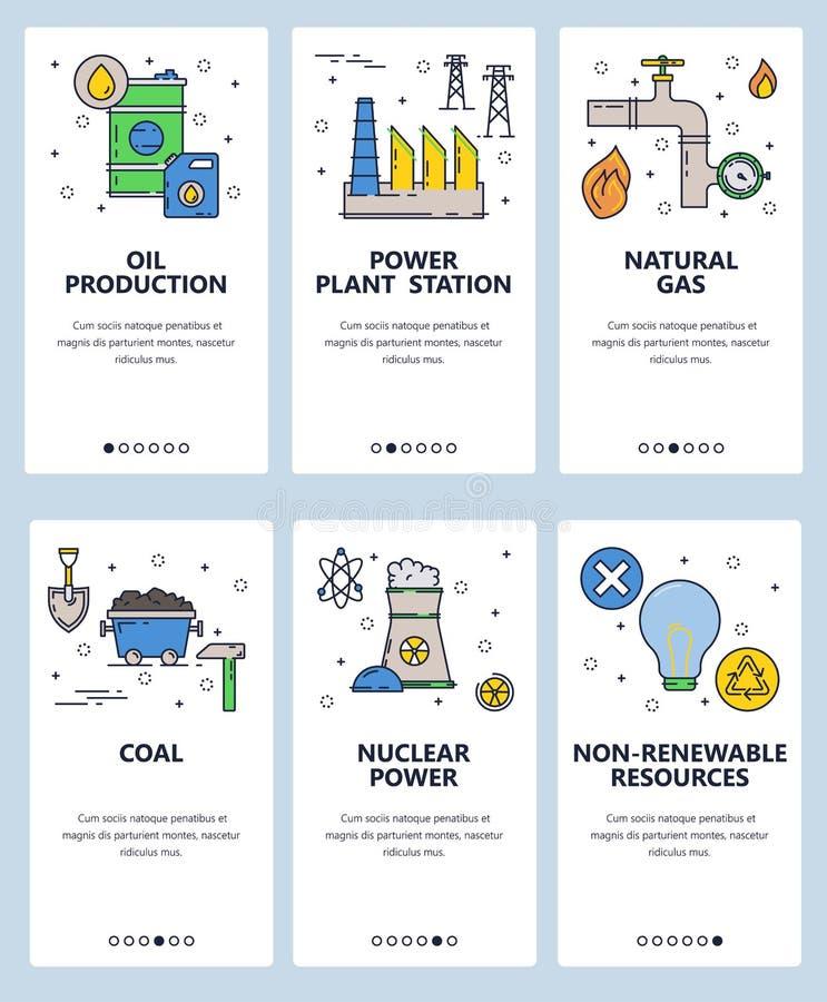 传染媒介网站线性艺术onboarding的屏幕模板 能源和能源厂 核,气体和煤电 向量例证