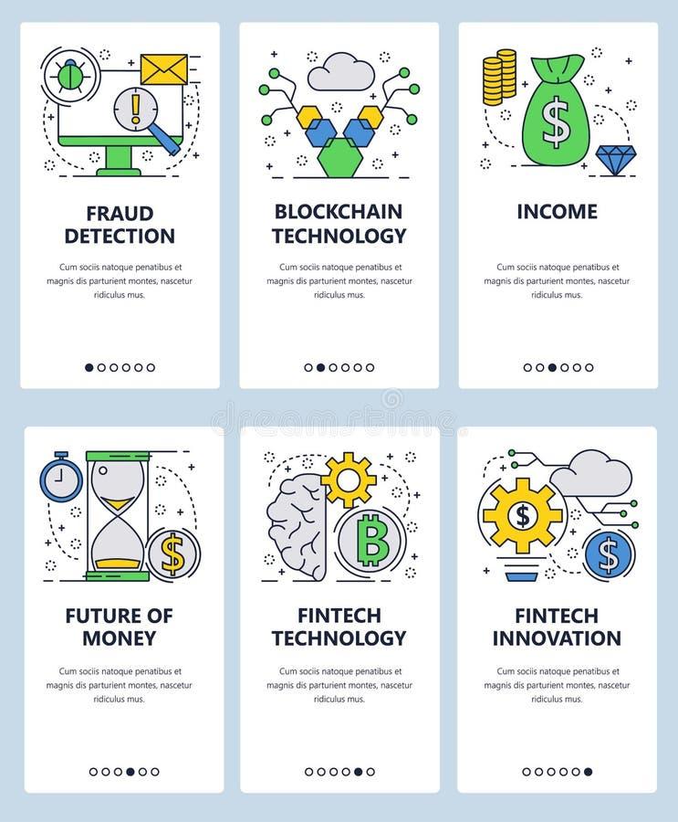 传染媒介网站线性艺术onboarding的屏幕模板 Fintech创新和blockchain技术 财务欺骗 库存例证