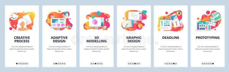传染媒介网站onboarding的屏幕梯度模板 图形设计、原型,创造性的艺术家和3d塑造 库存例证