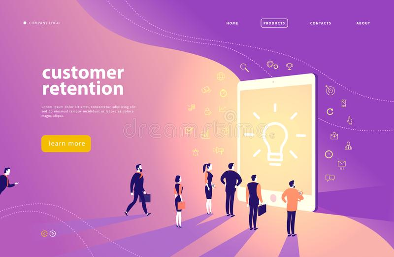 传染媒介网页与顾客保留题材的构思设计-办公室人站立在大数字式片剂屏幕 向量例证