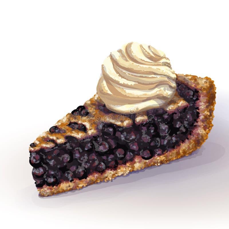 传染媒介美国蓝草莓饼时髦与酥脆脆外壳和装饰辫子在上面 水多的复盆水多的果酱,整个 向量例证