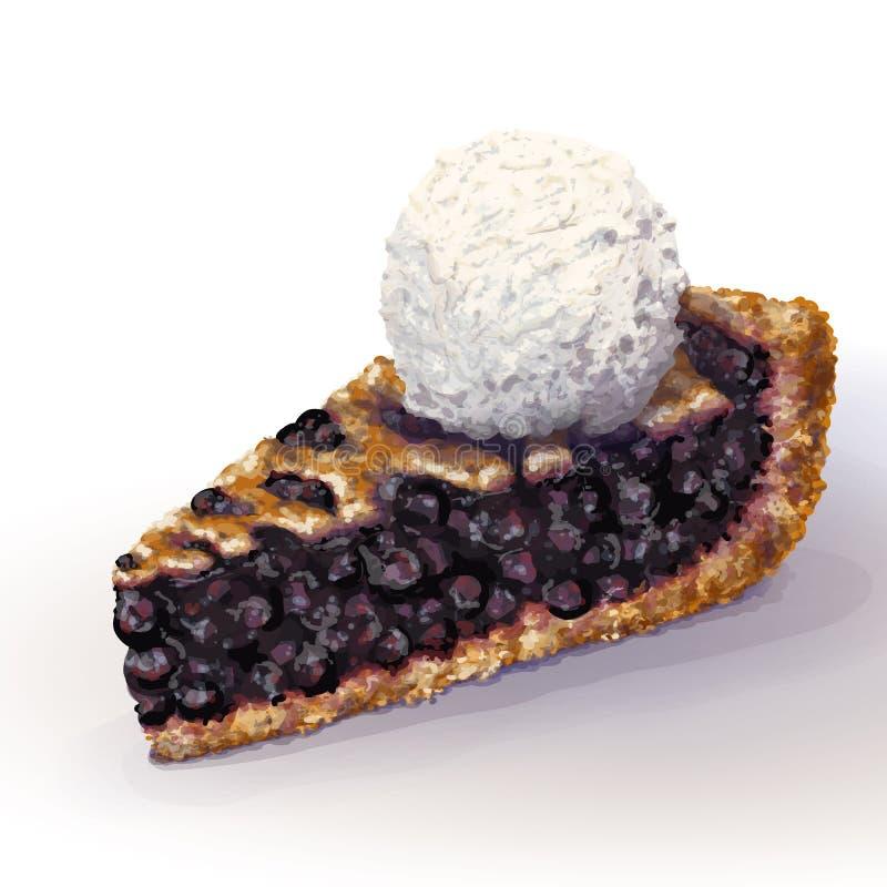 传染媒介美国蓝草莓饼时髦与酥脆脆外壳和装饰辫子在上面 水多的复盆水多的果酱 皇族释放例证