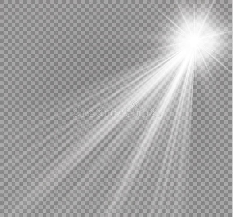 传染媒介聚光灯 在透明背景隔绝的轻的effectlight射线 也corel凹道例证向量 库存例证