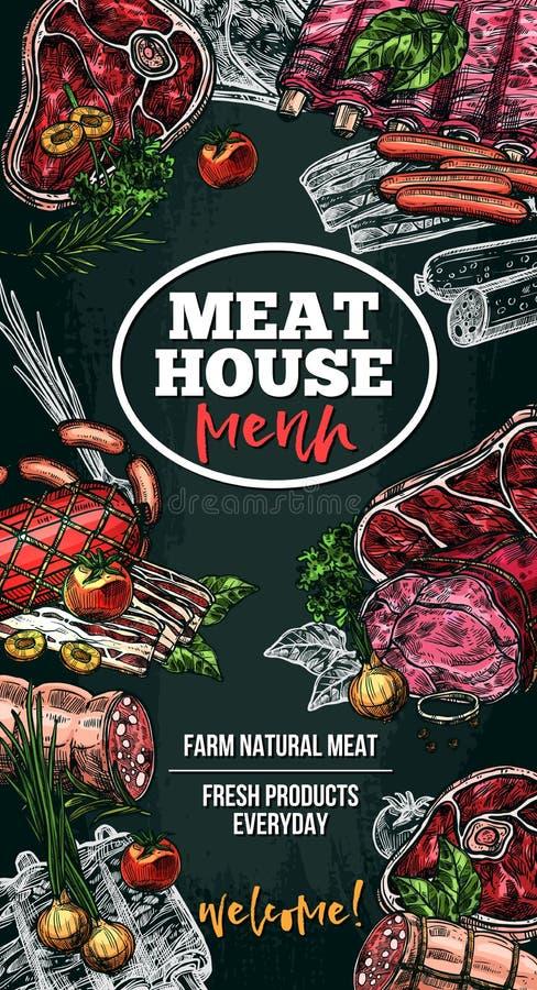 传染媒介肉房子熟食的剪影海报 皇族释放例证