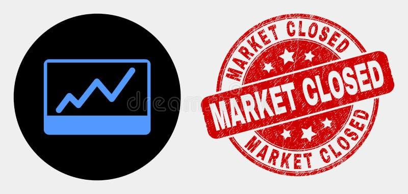 传染媒介股票绘制象和难看的东西市场闭合的封印图表 库存例证