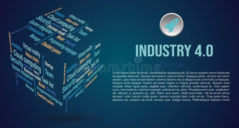 传染媒介背景在3D立方体的词云彩与关于产业4的期限 0在蓝色 免版税库存图片