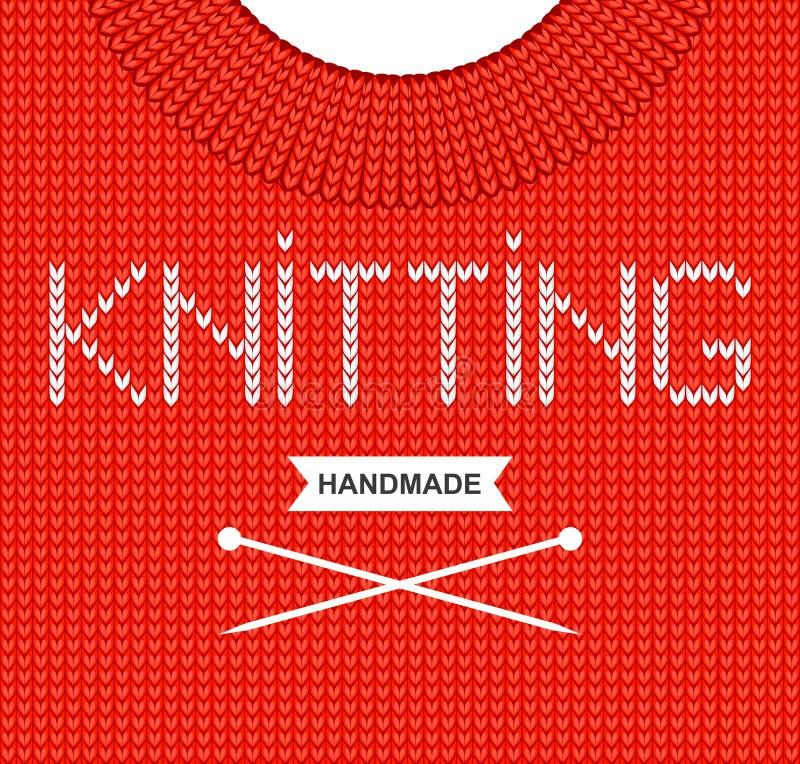 传染媒介背景编织了与题字'编织的'和编织针的织品 被编织的羊毛纹理 红色毛线衣 向量例证