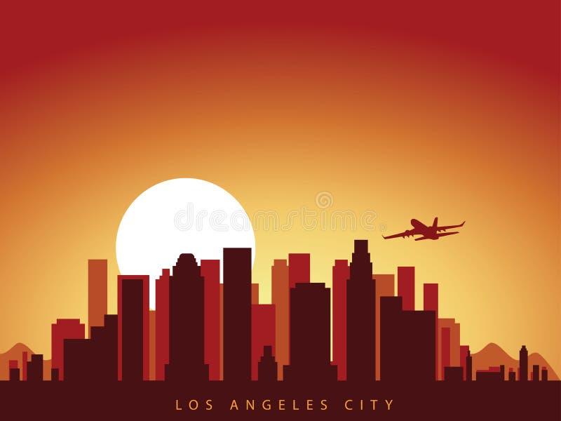传染媒介背景设计洛杉矶城市地平线在有飞机飞行的加利福尼亚美国在城市上和太阳上升 向量例证