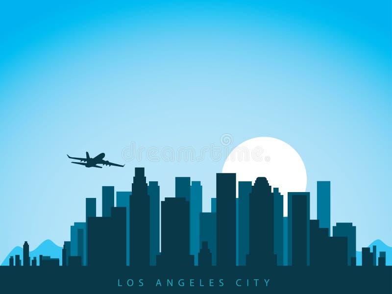 传染媒介背景设计洛杉矶城市地平线在有飞机飞行的加利福尼亚美国在城市上和太阳上升 皇族释放例证