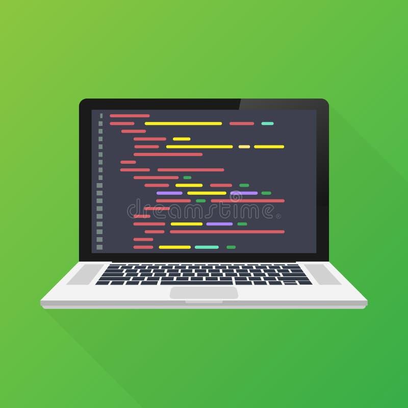 传染媒介膝上型计算机编制程序概念 网络开发商,设计,编程 膝上型计算机荧屏密码 也corel凹道例证向量 皇族释放例证
