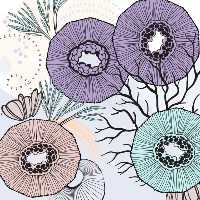 传染媒介自然印刷品 花卉布料背景 帆布生叶纹理横幅 小花独特的植物 另外水下的后面 向量例证