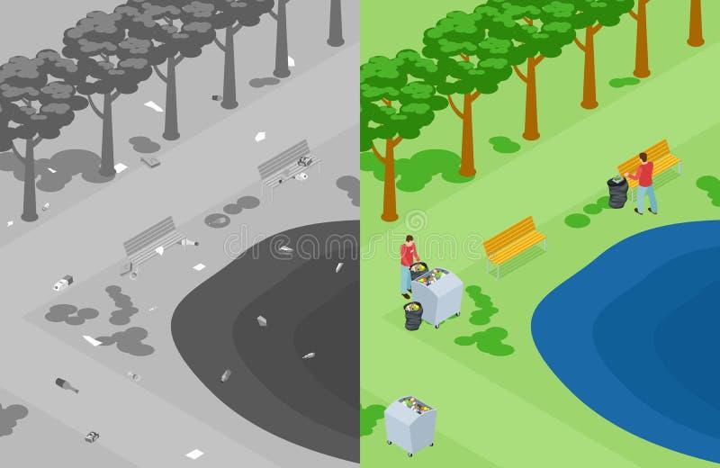 传染媒介自然或公园污染 志愿者收集在公园等量概念的垃圾 向量例证