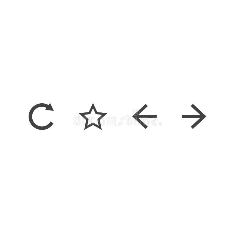 传染媒介航海按钮集合 刷新星forwar后面象 浏览器盘区标志 设计流动应用程序接口的元素或 库存例证