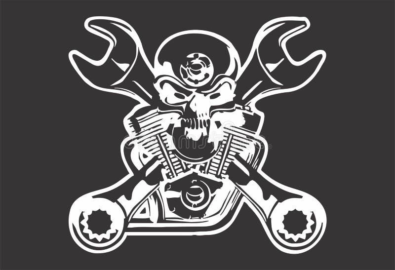 传染媒介艺术头骨艺术黑色白色酷的自行车设计 皇族释放例证