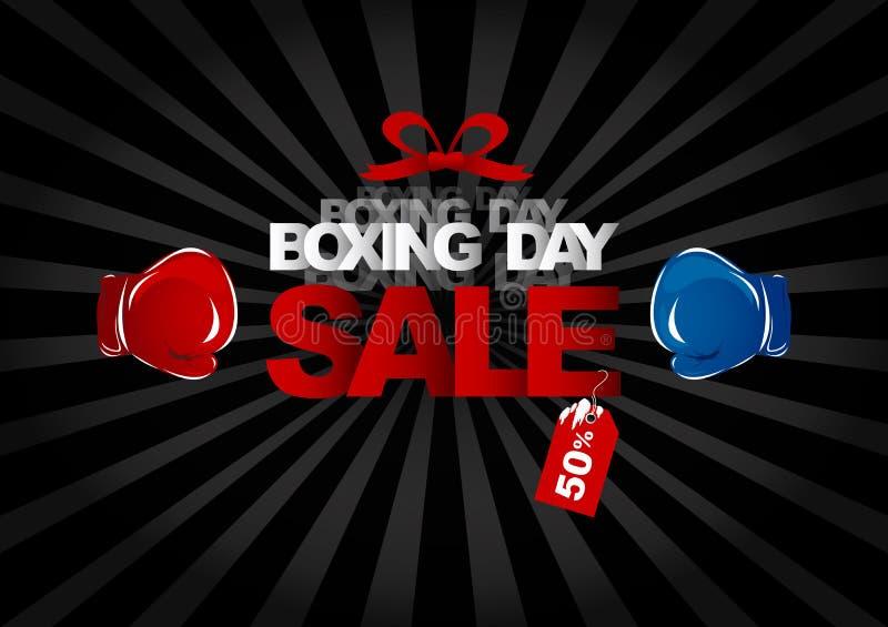 传染媒介节礼日拳击手套和文本销售设计  向量例证