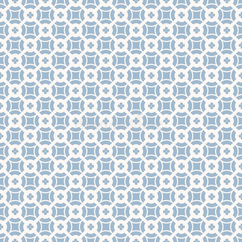 传染媒介花卉几何无缝的样式 精美浅兰和白色装饰品 向量例证