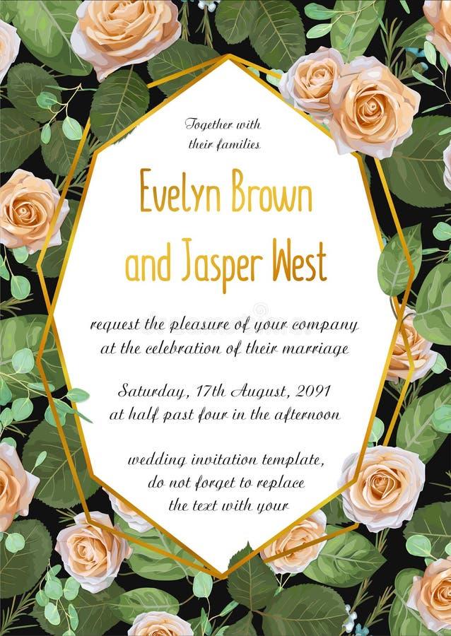 传染媒介花卉婚礼邀请与玫瑰的卡片设计与eucalyp 库存例证