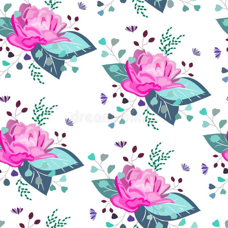 传染媒介花卉样式 夏天,春天,庆祝设计 库存例证