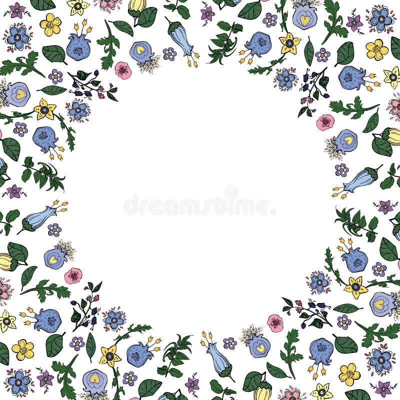 传染媒介花卉模板 与花的方形的框架在与空的空间的乱画的样式您的文本的 向量例证
