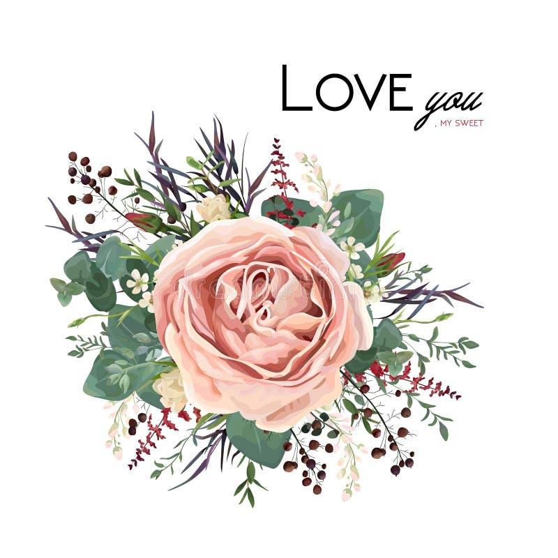 传染媒介花卉水彩样式卡片设计:淡紫色古色古香的别针 库存例证