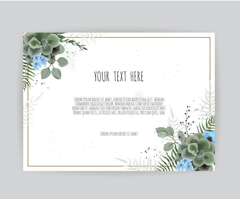 传染媒介花卉设计卡片 问候,明信片婚礼邀请模板 与绿色的典雅的框架留下草本  向量例证