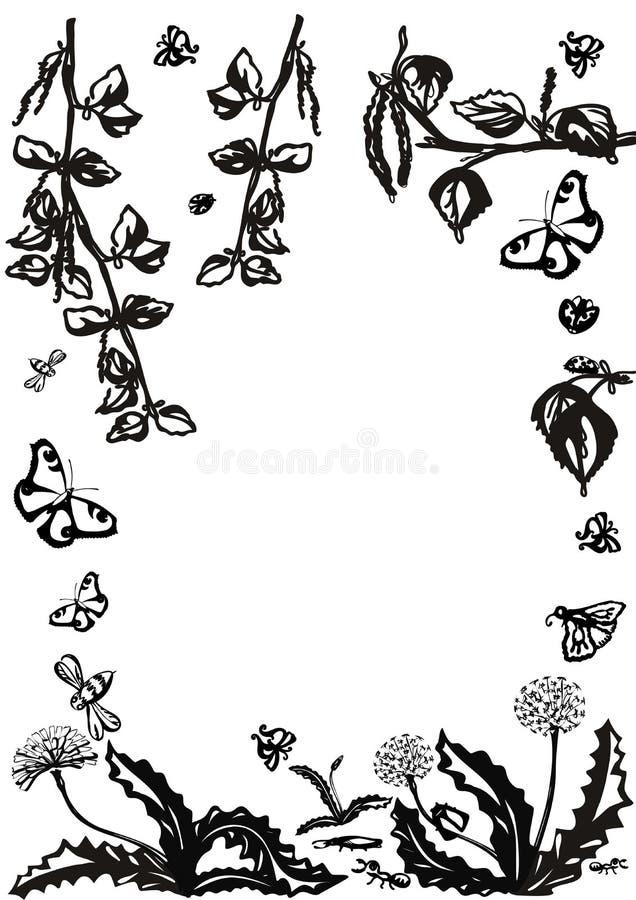 传染媒介花卉集合 与叶子和花,画的元素的图表收藏 春天或夏天设计邀请的,婚礼 库存例证