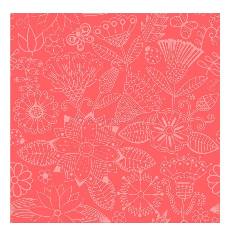 传染媒介花无缝的样式背景 背景的典雅的纹理 古典豪华古板的花饰, seamle 向量例证