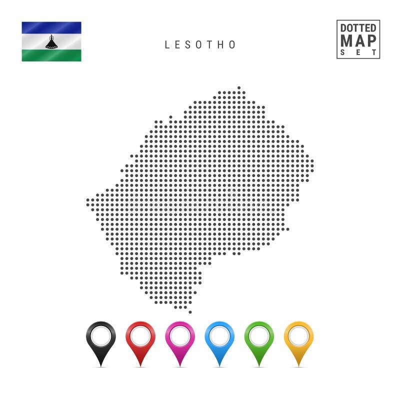 传染媒介莱索托的被加点的地图 莱索托的简单的剪影 莱索托的国旗 套多彩多姿的地图标志 向量例证