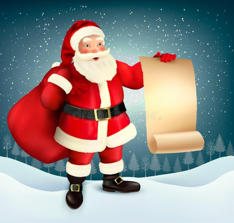 传染媒介葡萄酒圣诞节与圣诞老人的贺卡 向量例证