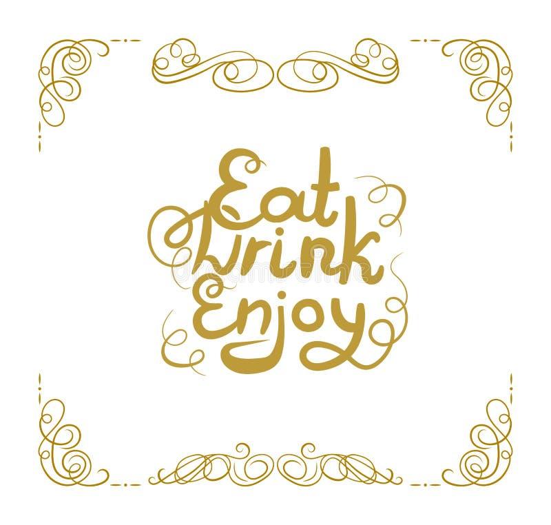 传染媒介葡萄酒框架、金银细丝工的漩涡和字法吃,喝,享用,金黄书法设计元素 库存例证