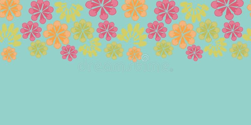 传染媒介葡萄酒蓝色花卉水平的边界狂欢节无缝的样式背景 库存例证