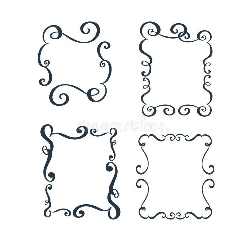传染媒介葡萄酒边界与减速火箭的装饰品样式的框架板刻在古色古香的洛可可式的样式装饰设计 向量例证