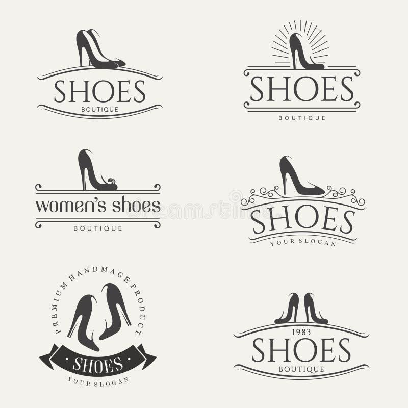 传染媒介葡萄酒鞋店的商标设计 妇女鞋子标志 向量例证