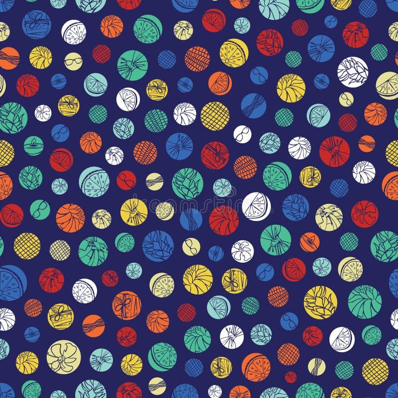 传染媒介蓝色五颜六色的圆点纹理重复样式 适用于缎带包装、纺织品和墙纸 库存例证