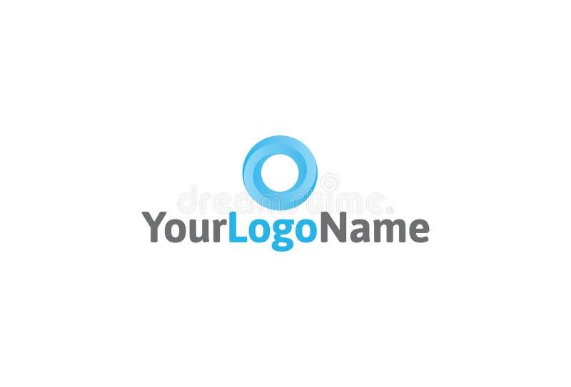 传染媒介蓝色圈子商标设计 库存例证