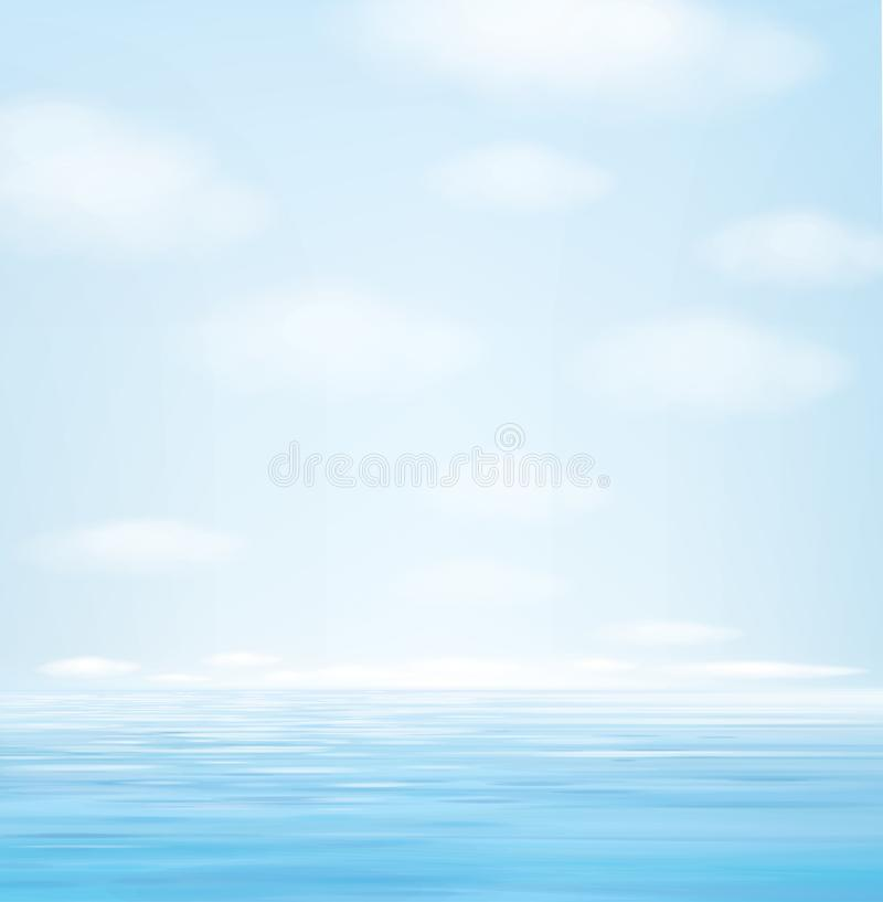 传染媒介蓝色海景背景 皇族释放例证