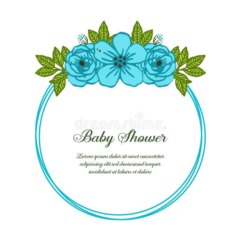 传染媒介蓝色玫瑰色花圈框架例证摘要模板婴儿送礼会的 皇族释放例证