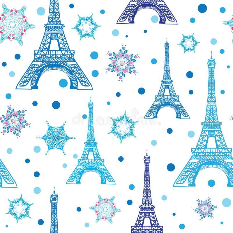 传染媒介蓝色白色埃菲尔山塔巴黎和雪花无缝的重复样式 为假日旅行主题的明信片完善 库存例证