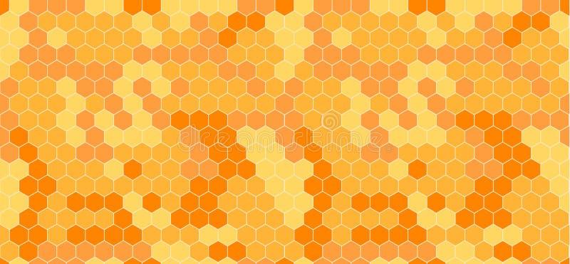 传染媒介蜂窝摘要无缝的样式、桔子和黄色 向量例证