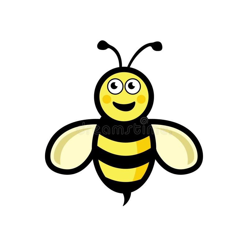 传染媒介蜂象 在白色背景的动画片逗人喜爱的明亮的小蜂 传染媒介商标例证传染媒介eps10 皇族释放例证