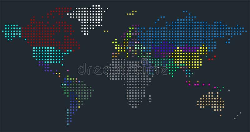 传染媒介被加点的世界地图 世界的一张政治地图 向量例证