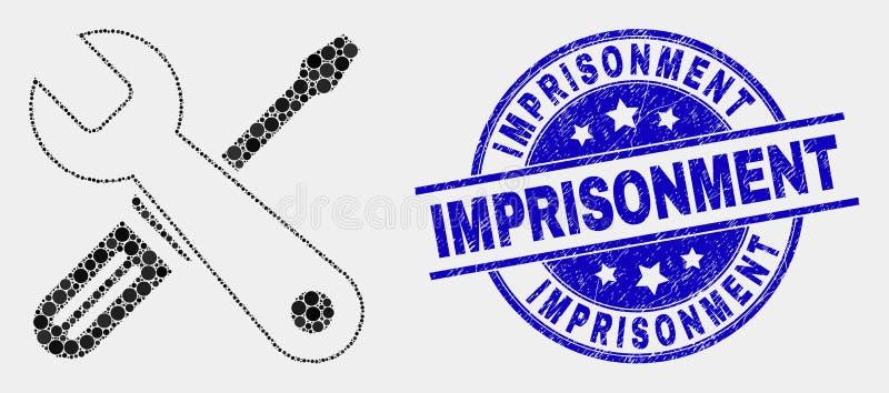 传染媒介被加点的修理用工具加工象和难看的东西监禁封印 向量例证
