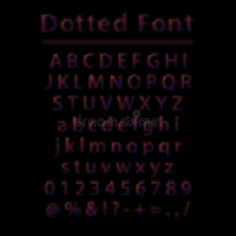 传染媒介被加点的字体 上色信件和数字与半音作用的小点做成被隔绝的由对黑背景 向量例证