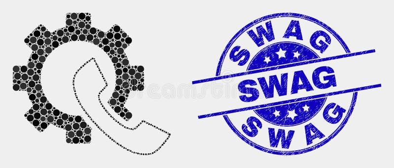 传染媒介被加点的电话接收器齿轮象和困厄赃物封印 库存例证