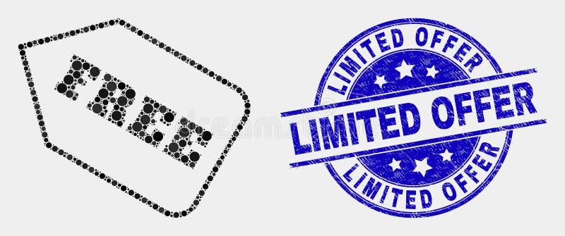 传染媒介被加点的自由标记象和被抓的有限的提议水印 库存例证
