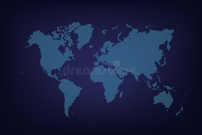 传染媒介被加点的蓝色世界地图 向量例证