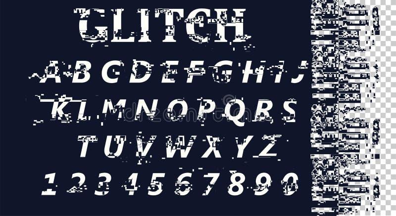 传染媒介被变形的小故障字体 时髦样式字法字体 拉丁字母从A到Z和数字从0到9 向量例证