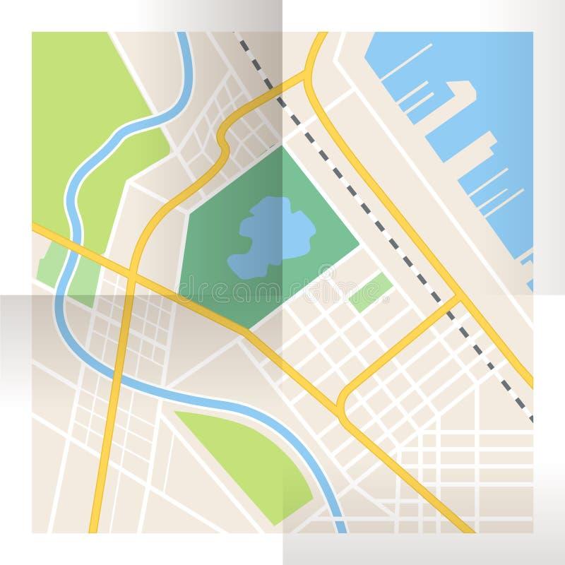传染媒介被折叠的纸城市地图 顶视图 库存例证