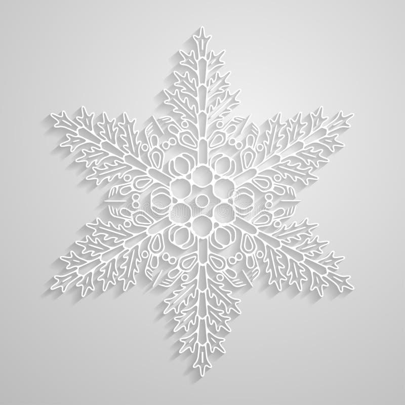 传染媒介被排行的雪花 纸线性雪花设计,在轻的背景的minimalistic几何雪花 向量例证